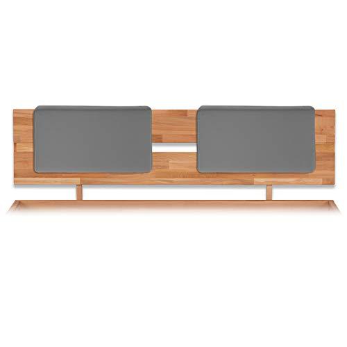 Bubema Polster-Steckkissen für Bettkopfteil, 2er-Set,für viele gängige Betten, 7 versch. Farben Farbe Grau