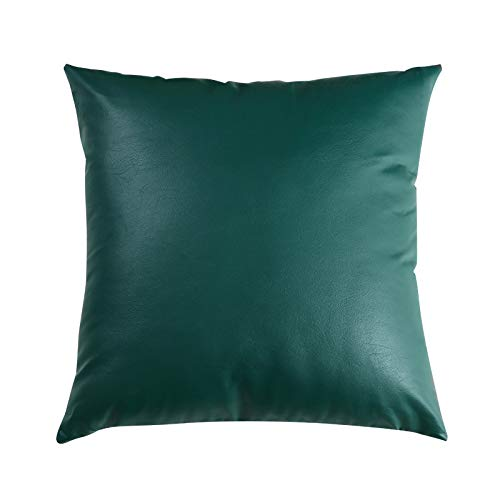 B/C Modern simple style PU leather sofa pillow soft design sofa cushion (Dark green,50×50cm)
