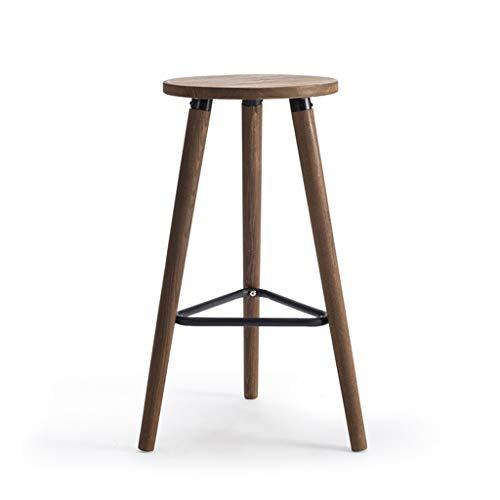 Comif-tabouret de bar barkruk, Carbonized Wire Drawing-procedé, massief metalen driehoekspedaal, houtkwaliteit met anti-slip mat (zithoogte: 26 inch)
