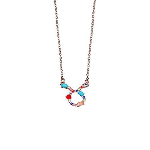 Yowablo Halskette Damenmode Gold und Silber Zwölf Sternbild Diamant (X)