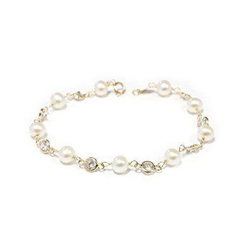 Monde Petit G1222PU - Bracciale per bambini perle, oro giallo 18k (750)