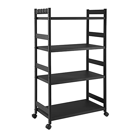 QINJIE 4 Tier Storage Rack Shelving Unit Storage Shelves, Adjustable Shelving Units with Wheels, for Kitchen Garage Closet Pantry Laundry Bathroom,27.9in