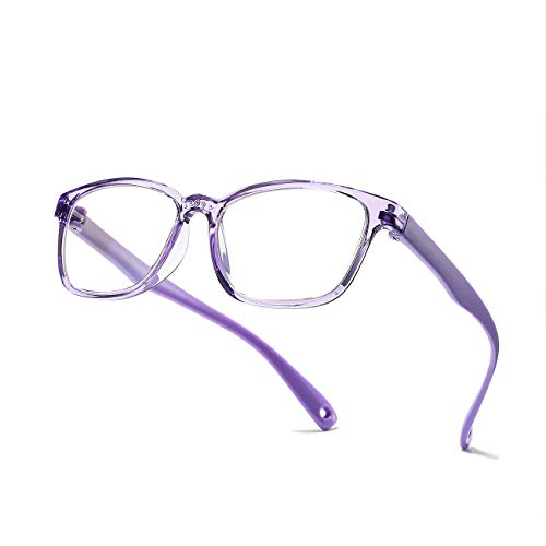 AZORB Kids Blue Light Blocking Glasses, Soft TR Frames Anti Eye Strain Eyewear for Boys Girls Age 3-12 -Clear purple