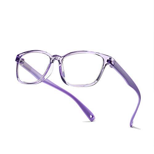 AZORBKids Blue Light Blocking Glasses, Soft TR Frames Anti Eye Strain Eyewear for Boys Girls Age 3-12 -Clear purple