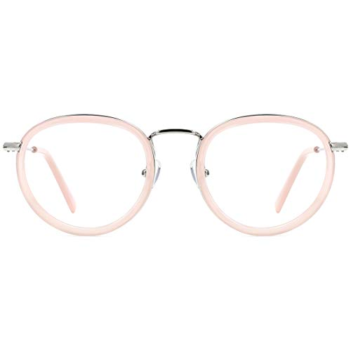 TIJN Occhiali rotondi unisex vintage con lenti blu che bloccano la luce Montatura in metallo anti raggio dannoso