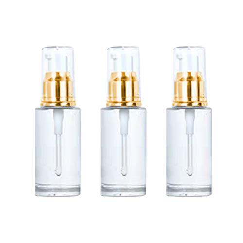 Hemoton 3 pcs Vide Pompe cosmétique Bouteille Bouteilles Bouteille d'huile Essentielle Bouteille Vide Bouteilles Portable Pompe Bouteille (Or et Blanc 40 ML)