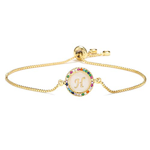 Hand Bangle Bracelets Jewellery For Womens Colourful Cubic Zirconia 26 Alphabet Letter Charm Bracelet Femme Gold Chain S