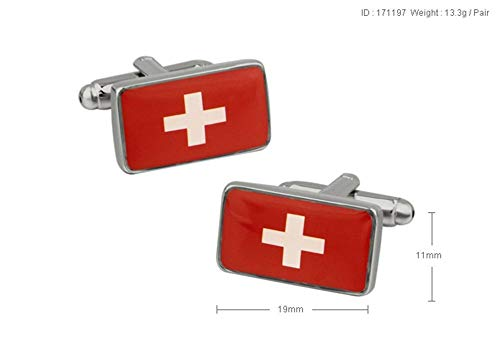 ESCYQ Manschettenknöpfe,Unisex Manschettenknöpfe Schweizer Fahne Weiß Lackiert Stahl Schlanke Minimalistische Business Hochzeit Zubehör