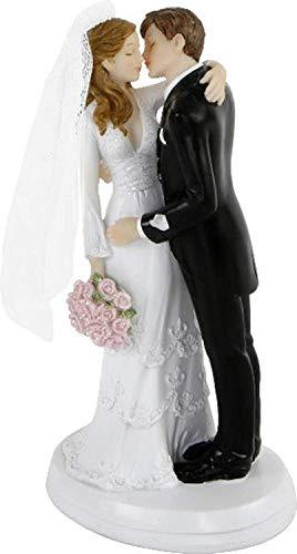 MIK Funshopping Tortenaufsatz, Tortenfigur, Dekofigur Brautpaar Hochzeitspaar Wedding Hochzeit Trauung Hochzeitstorte Cake-Topper (Küssendes Paar)