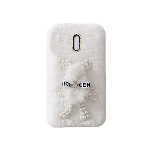 YHY Funda Teléfono Pearl Bear Plush para Samsung Galaxy J5 Pro 2017 Carcasa De Felpa De Silicona Suave y Elegante La Piel Blanco