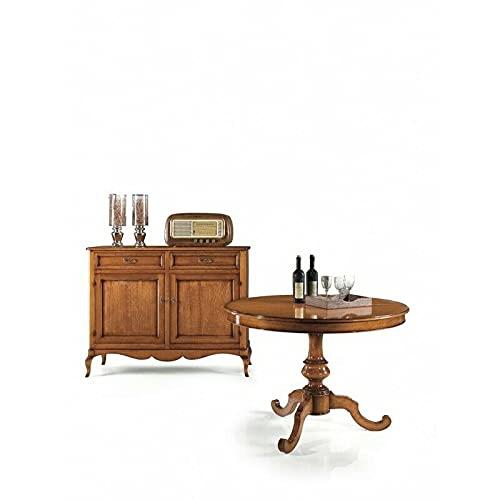 Mesa redonda de 100 cm, extensible 1 extensión de 40 cm, acabado bajo, color nogal, arte pobre, con - med. 100 x 100 x 75 cm.