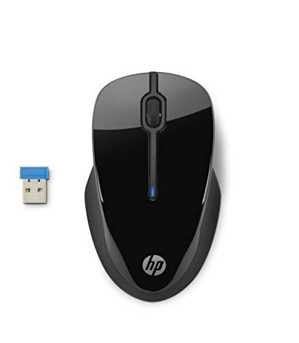 HP 250 - Ratón inalámbrico óptico Negro (Ambidiestro, Receptor USB 2,4 GHz, 12 Meses batería)