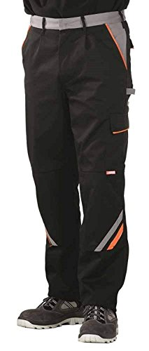 4556 Planam Bundhose Visline, schwarz/orange/zink 48,Schwarz/Orange/Zink