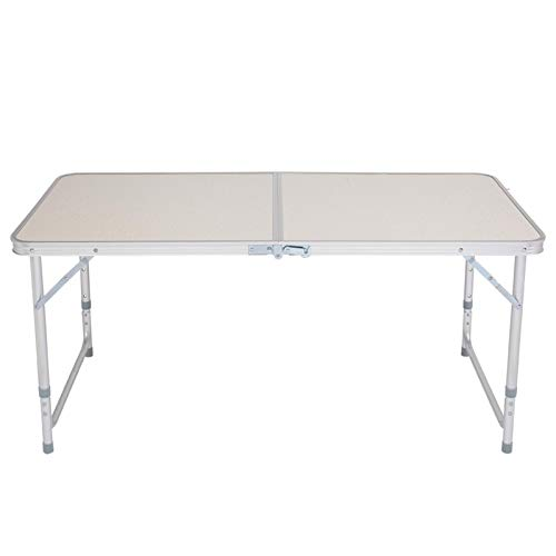 Portable Multipurpose Folding Table, 120 x 60 x 70 4Ft Aluminum Folding Table, Multipurpose Picnic Camping Table Adjustable Rectangle Table for Party, Beach, Backyard, BBQ, Indoor and Outdoor, White