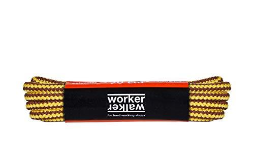 WorkerWalker Laces Pro, Lacets Ronds pour Chaussures de Travail et de Sécurité, Tissage Robuste, Fabriqués en Europe par des Professionnels, 1 Paire (0350 - jaune marron / 120 cm - 47 pouce)