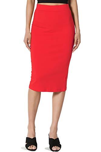 TheMogan Junior's Stretch Cotton Elastic High Waist Pencil Midi Skirt Red L