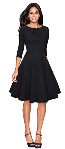 CHIC DIARY 1950er Vintage Kleid Damen Rundhals 3/4 Ärmel Retro Elegant Cocktailkleid A Linien Rockabilly Abendkleid, Schwarz/Rot, Schwarz, L