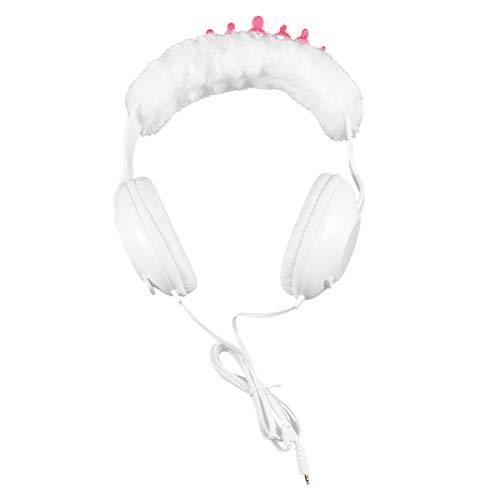 UKCOCO Kinderkoptelefoon - 3,5 mm bedraad prinses headset stereo muziek hoofdtelefoon pluche hoofdtelefoon voor meisjes met fonkelend zilveren glitter cadeau voor verjaardag, Kerstmis - rood