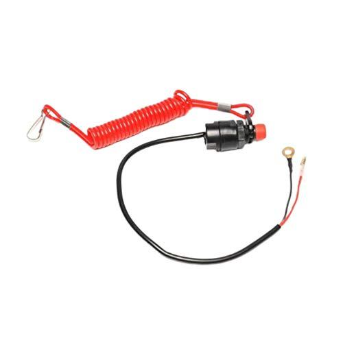 RHNE Interruptor de Corte de Amarre para lancha Botón de Parada Interruptor de Emergencia de Llama Doble Interruptor de Llama de Motor Fuera de borda de Cuerda roja Negro + Rojo