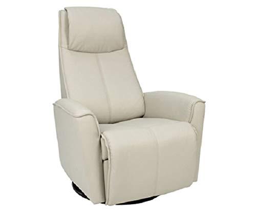 Fjords Urban Large Power Recline Swivel Swing Relaxer Recliner Chair in SL 205 Shadow Grey Soft Line Leather with in-Home Delivery and Setup