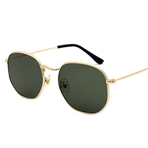 NJJX Gafas De Sol Cuadradas ParaHombre, Gafas De SolHexagonales, Gafas De Pesca Con Montura Metálica Para Mujer, Gafas Grises Doradas, Verde Oscuro
