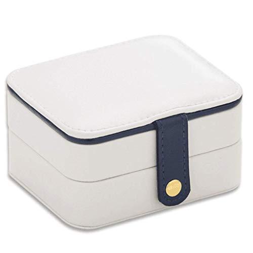 Caja de joyería Pendiente portátil Finishing Box Mini Collar Caja de Anillo multifunción Joyería de Oreja Pendientes Caja de Almacenamiento (Color: Azul) leilims (Color : White)