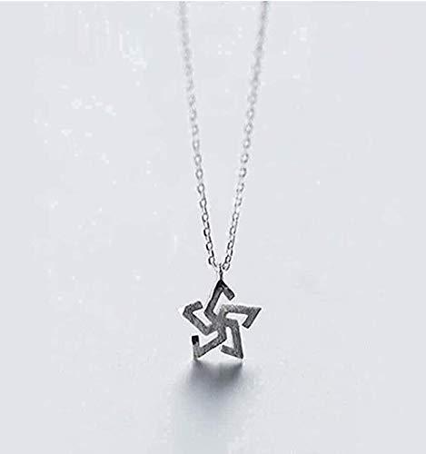 ZGYFJCH Co.,ltd Collar Hueco Pintado a Mano Collar de Molino de Viento Collar de Personalidad Cadena de clavícula de Cinco Puntas Moda