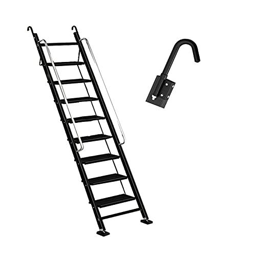 BFFGM Escalera TelescóPica el Hogar MóVil PortáTil Escalera Plegable Espesamiento AleacióN de Aluminio Escaleras de áTico con Pasamanos y Gancho Techo para Loft Interior