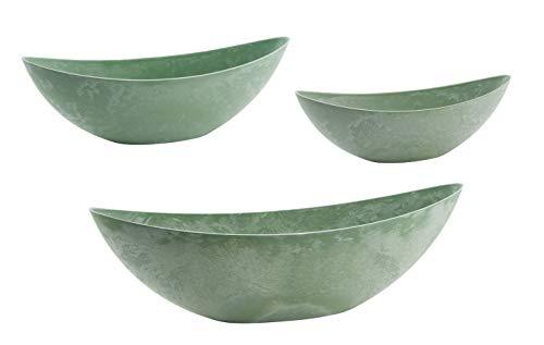 Kunststoffschale 3er Set grün - 34 bis 55 cm - Deko Blumen Schale in Beton Optik - Pflanzschale