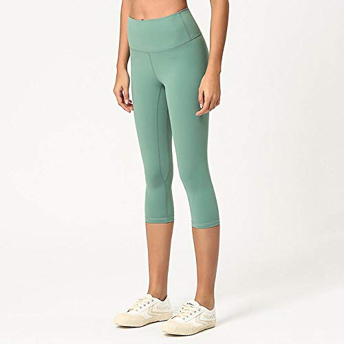 Pantalones Deportivos Para Mujer Pantalones De Yoga Para Mujer De Cintura Alta De 3/4 De Longitud Medias De Entrenamiento Cortadas A Prueba De Sentadillas Mujer Deportes Fitness Gym Leggings-Gree