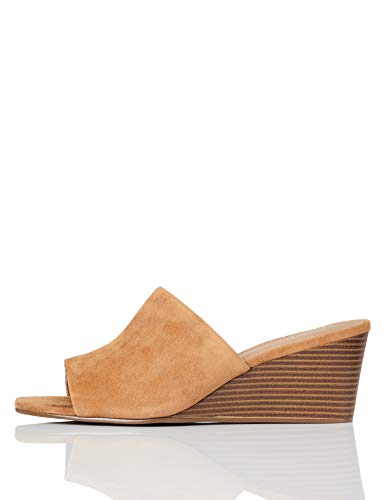 Marca Amazon - find. Mule Wedge Leather Zapatos de tacón con Punta...