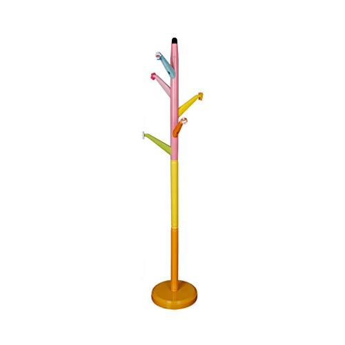 Râteliers multi-usages Porte Manteau Chambre Chambre Dessin animé Mignon Cintre Maison Multifonction Cintre en Bois Massif Casiers (Color : Pink, Size : 30 * 30 * 165cm)