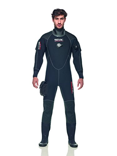 SEAC Men's Warmdry 4mm Neoprene Dry Suit, Black, Large