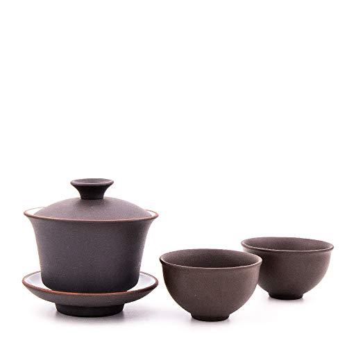 Gaiwan aus Yixing Ton mit 100 ml | Chinesischer Gaiwan aus hochwertigem Yixing Ton mit Zwei Tassen aus Yixing Ton | Zisha Gaiwan (schwarz)