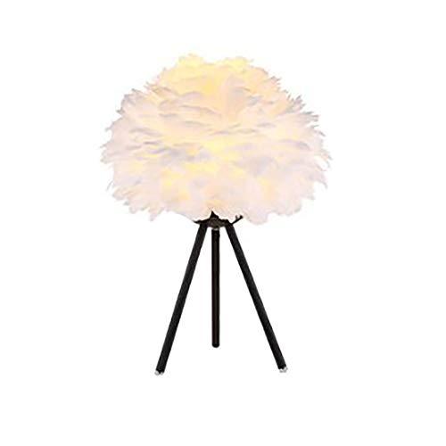 Ideahome Nórdico Creativo Pluma Lámpara Escritorio,Romántico Boda Casa Decoración E27 Lámpara De Mesa,De Moda Planchar Arte Lámpara Escritorio-Negro 15.75'×23.62'