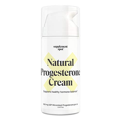 Supplement Spot Natural Progesterone Cream for Women – Micronized Bioidentical USP Progesterone Cream from Wild Yam for Menopause Relief & Mood Balance (3.4 oz – 500mg Progesterone/oz)
