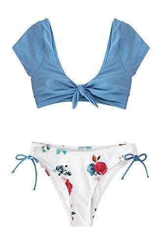 CUPSHE Conjunto de Bikini Mujer Estampado Floral Cintura Baja Traje de Baño Dos Piezas, XL