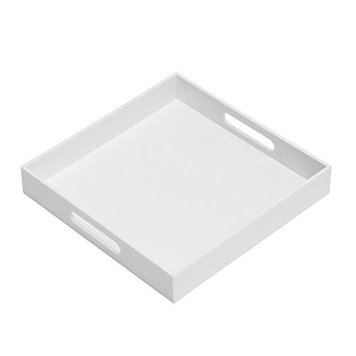 Glossy White Sturdy Acrylic Serving Tray with Handles-12x12Inch-Serving CoffeeAppetizerBreakfastButler-Kitchen Countertop Tray-Cosmetics Organizer-Vanity Table Tray-Ottoman Tray-Decorative Tray
