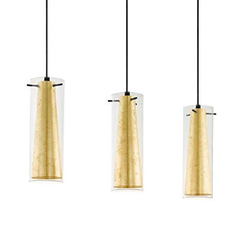 EGLO Pendellampe Pinto Gold, 3 flammige Pendelleuchte, Material: Stahl, Farbe: schwarz, Glas: klar, gold, Fassung: E27