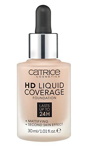 Catrice HD Liquid Coverage Foundation, Make Up, Nr. 040 Warm Beige, nude, für Mischhaut, für unreine Haut, langanhaltend, mattierend, matt, vegan, ölfrei, ohne Alkohol (30ml)