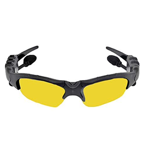 Tragbare Sonnenbrille Wireless Bluetooth Kopfhörer, Creamon Tragbare Sonnenbrille Wireless Bluetooth Kopfhörer Outdoor Sport Brillen Headset mit Mikrofon gelb