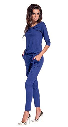 Lemoniade eleganter Jumpsuit mit 3/4-Ärmel und elegantem Wasserfallkragen, Navy, Gr. S