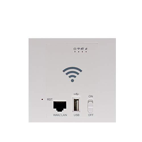 HM2 WLAN-Router in der Wand 300 Mbit/s WiFi Repeater 86 Bedienfeld im Wandzugangspunkt USB2.0 POE 24-V-WLAN-Router SSID 2.4G 802.11N 10/100 M WAN LAN,Weiß