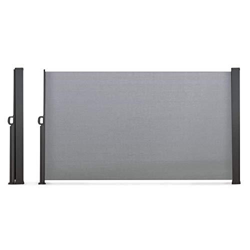 IDMarket - Paravent extérieur rétractable 400 x 180 cm Gris Clair Store latéral