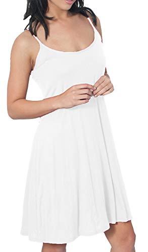 Re Tech UK - Damen Hängerkleid mit Spaghettiträgern - ausgestellt - lang - Einfarbig Weiß - 44-46