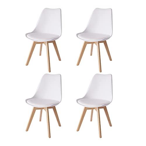4er Set Esszimmerstühle Gepolsterter Stuhl mit Buchenholz-Beinen und Weich Gepolsterte Chair für Esszimmer Wohnzimmer Schlafzimmer Küche Besprechungsraum, (Gepolstert weiß)