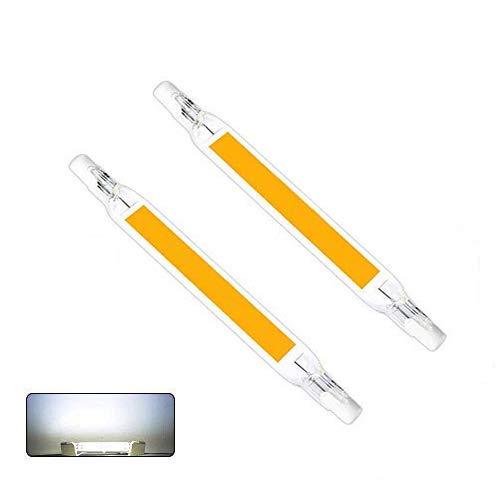 AEUWIER 2 piezas R7S Bombillas LED, 5W / 78mm 230V Lámpara blanca halógena 6000K fría, LED COB de doble extremo R7S 118 Luz de reflector de base Luz lineal Ángulo de haz de 360 ° No regulable
