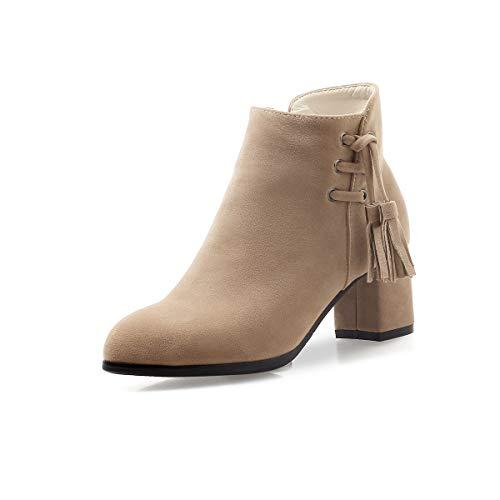 JIEEME Nubukleder Damenmode Reißverschluss Blockabsatz Mittelabsatz runde Zehen lässig Damen Kurzschaft Stiefel Z8500-61 (Beige, Numeric_36)