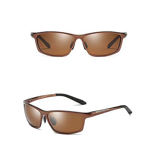 Raxinbang Gafas de Sol Nuevo Material De Aluminio-magnesio Polarizados UV400 Gafas De Sol UV De Manera Negro/Marrón/Plata/Gris Modelos Masculinos Gafas De Sol De Conducción (Color : Brown)