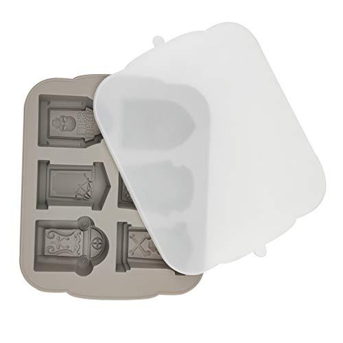 MOMOONNON Halloween-Form für Grabstein und Eiswürfel mit Deckel, Grau